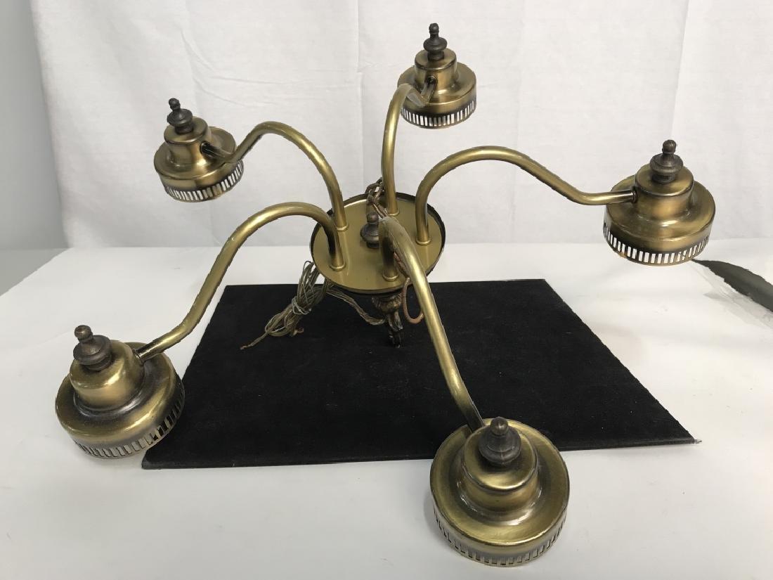 Brass Toned 5 Light Chandelier - 4