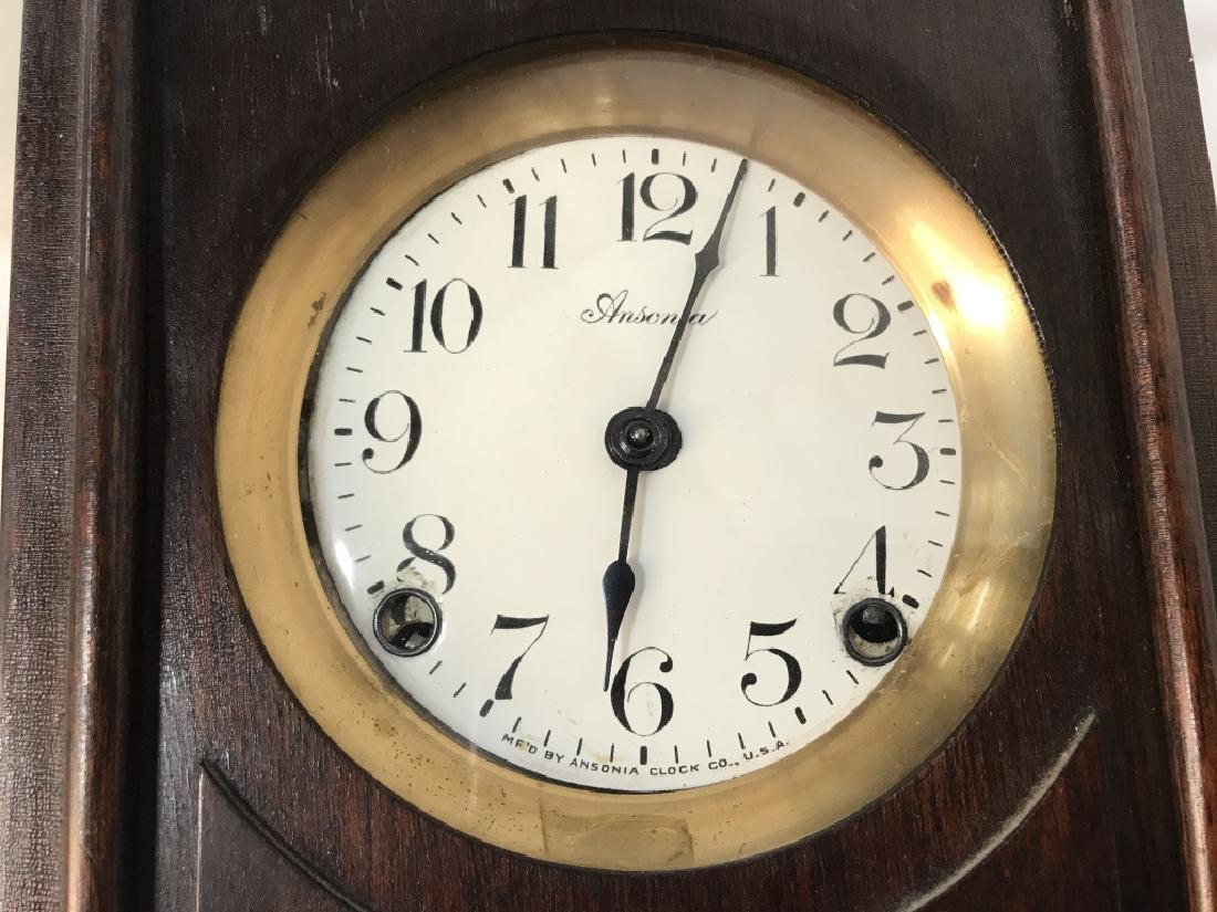 Vintage Ansonia Wood Wall Clock - 8