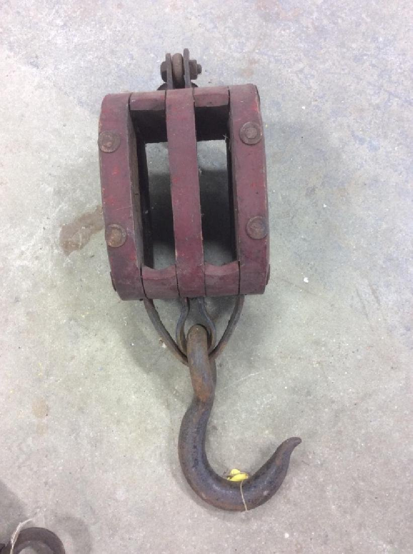 Group of 3 Vintage Wheel Farm Pulley Tools - 4