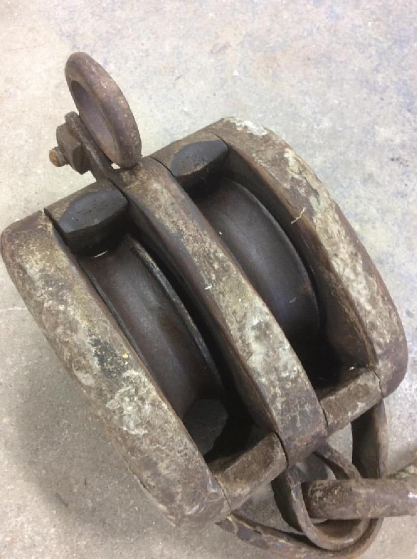 Group of 3 Vintage Wheel Farm Pulley Tools - 8