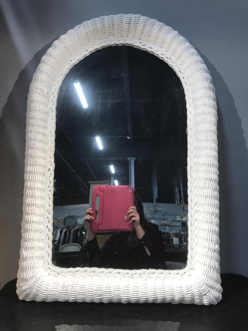 Painted White Wicker Framed Mirror