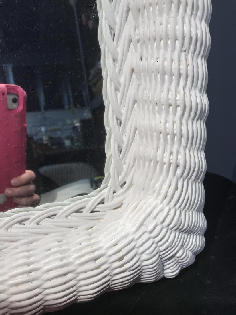 Painted White Wicker Framed Mirror - 5