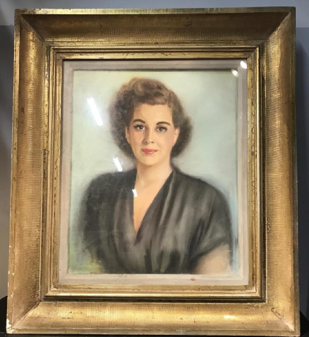Vintage Framed Pastel Portrait Of Woman