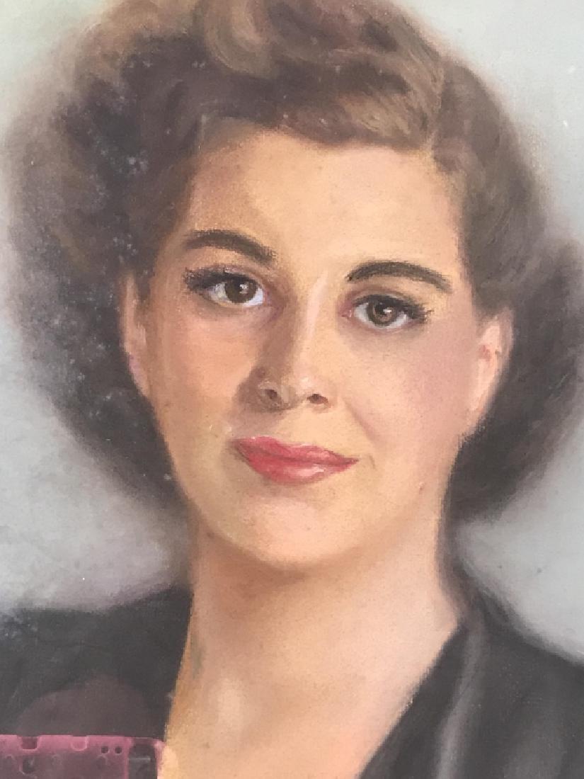 Vintage Framed Pastel Portrait Of Woman - 2