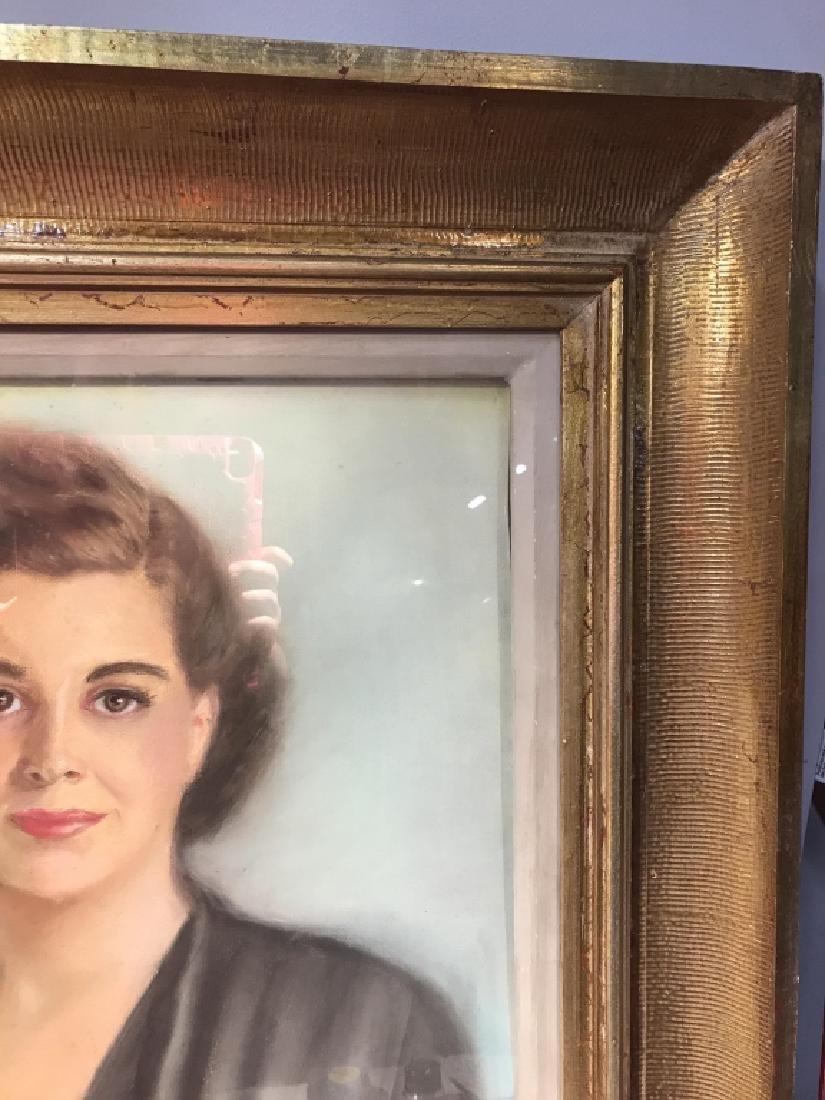 Vintage Framed Pastel Portrait Of Woman - 4