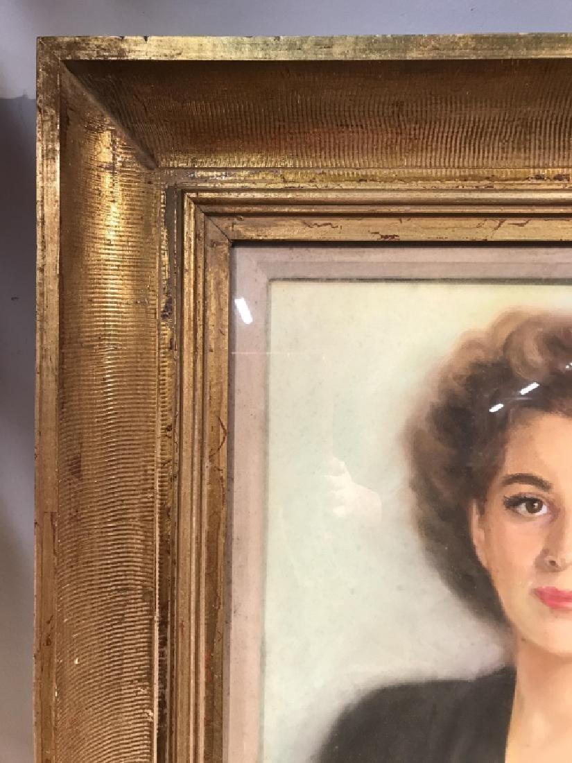 Vintage Framed Pastel Portrait Of Woman - 5