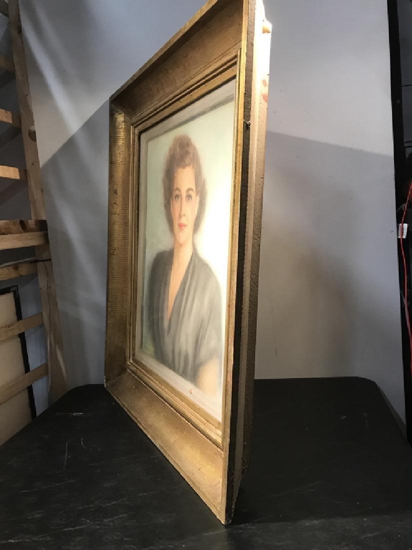 Vintage Framed Pastel Portrait Of Woman - 7