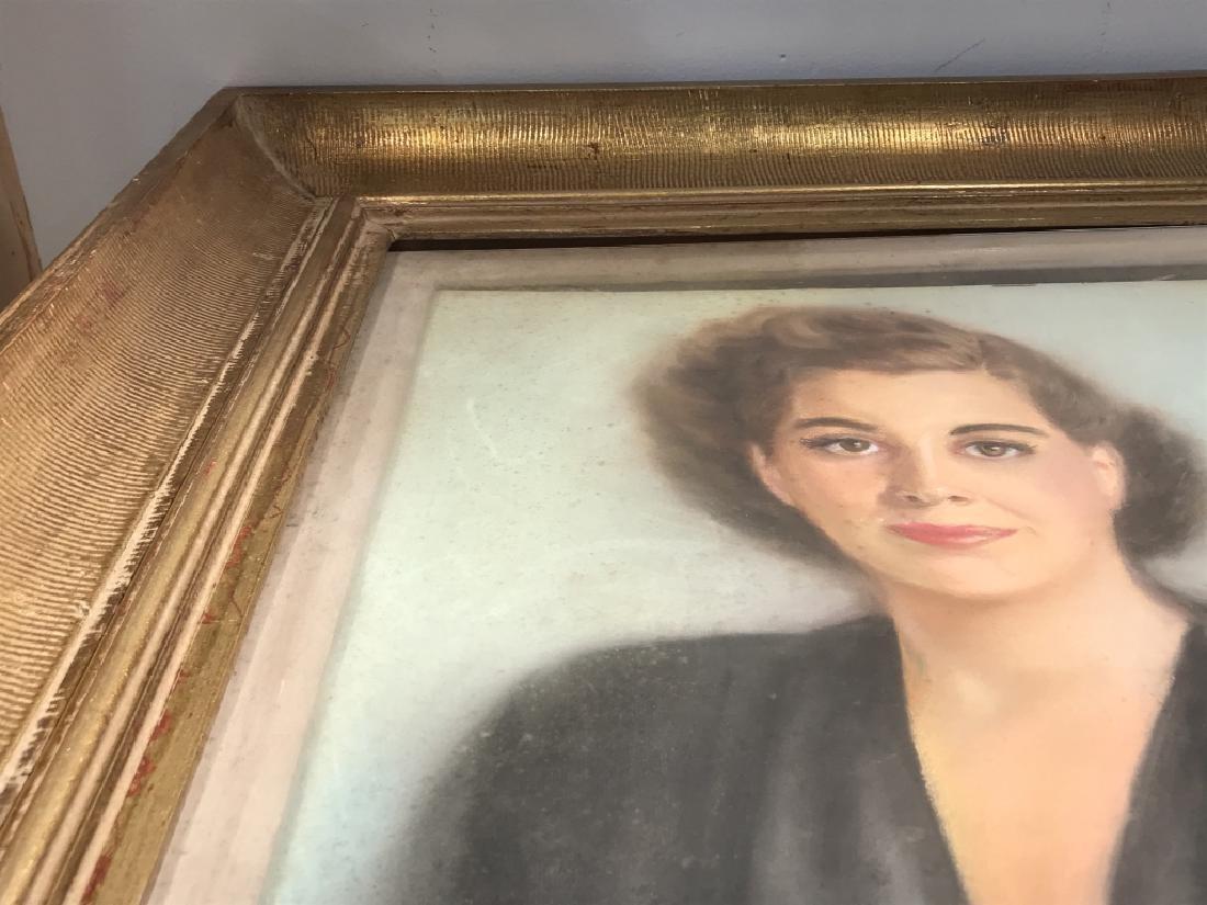 Vintage Framed Pastel Portrait Of Woman - 9