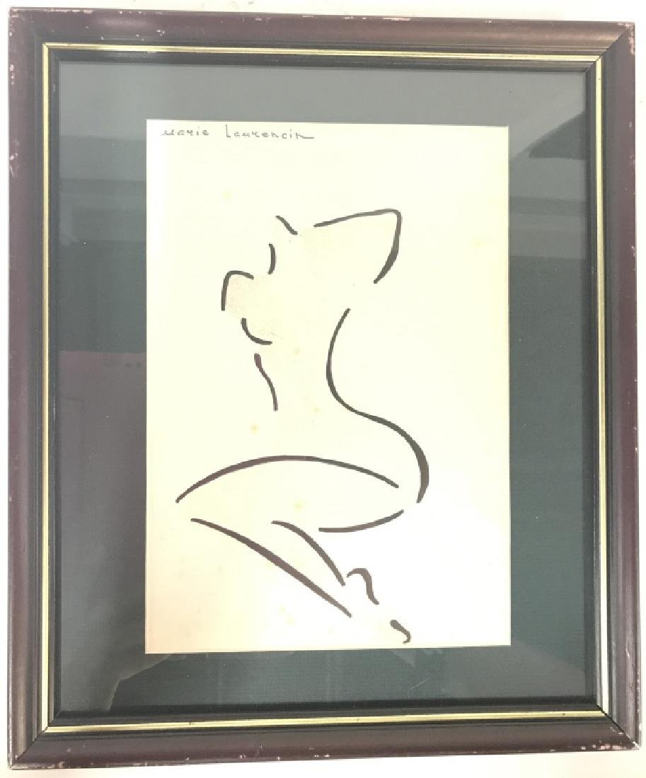 MARIE LAURENCIN Signed Female Nude Ink & Gouache