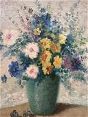 Signed Oil Painting on Canvas of Floral Still Life