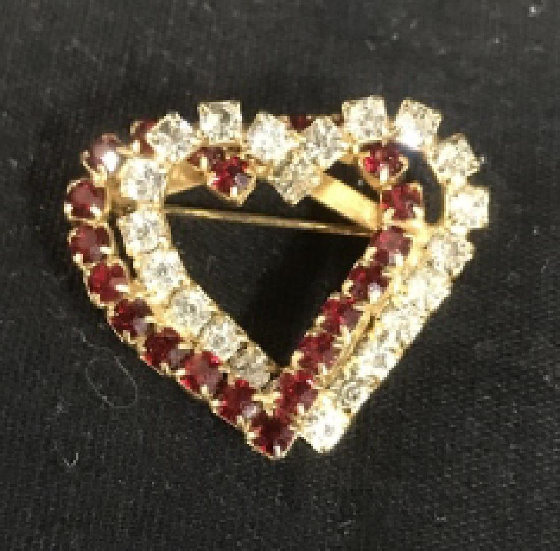 Red and White Double Heart Rhinestone Pin