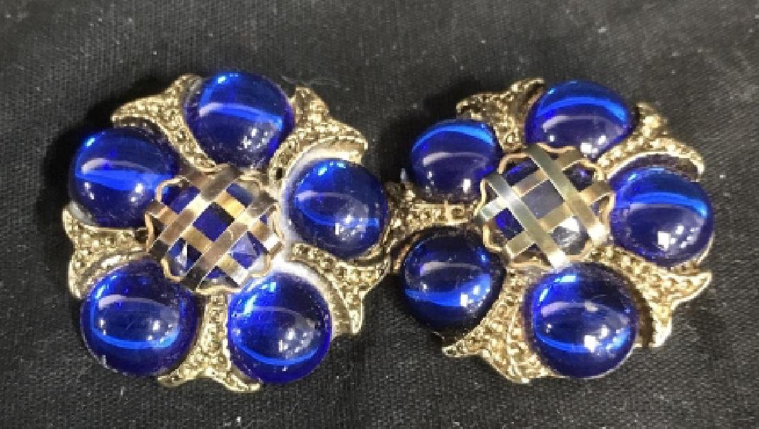 Pair Vintage Blue Gold Button Earrings