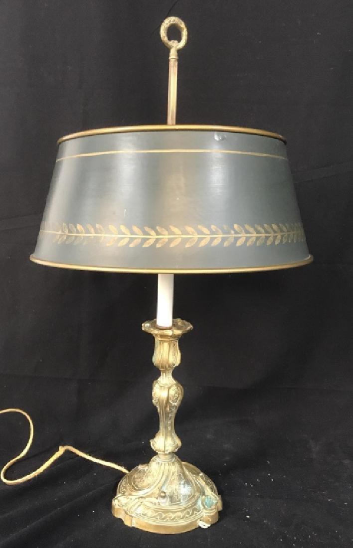 Art Nouveau Gilded Lamp w Metal Shade