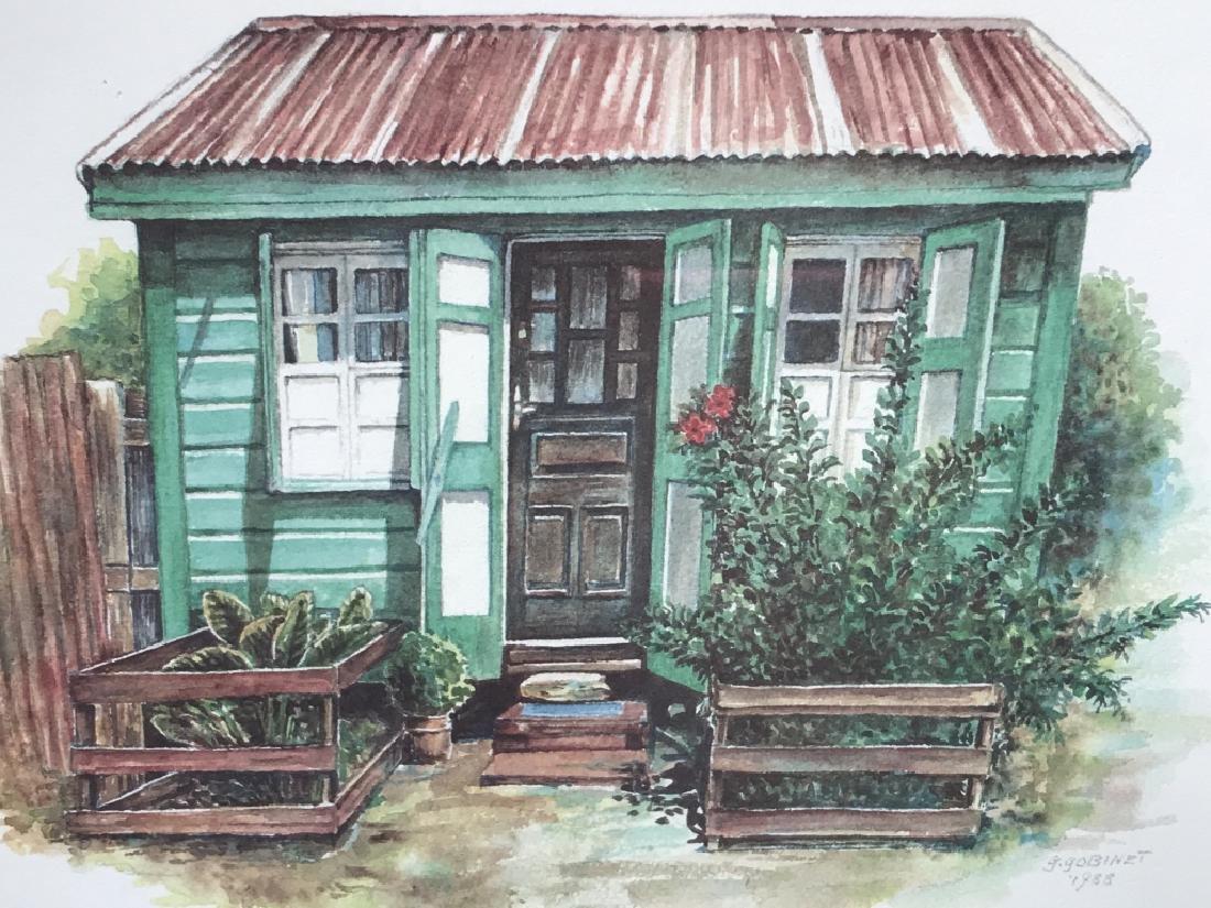 Vintage Print Of Cottage In Wood Frame