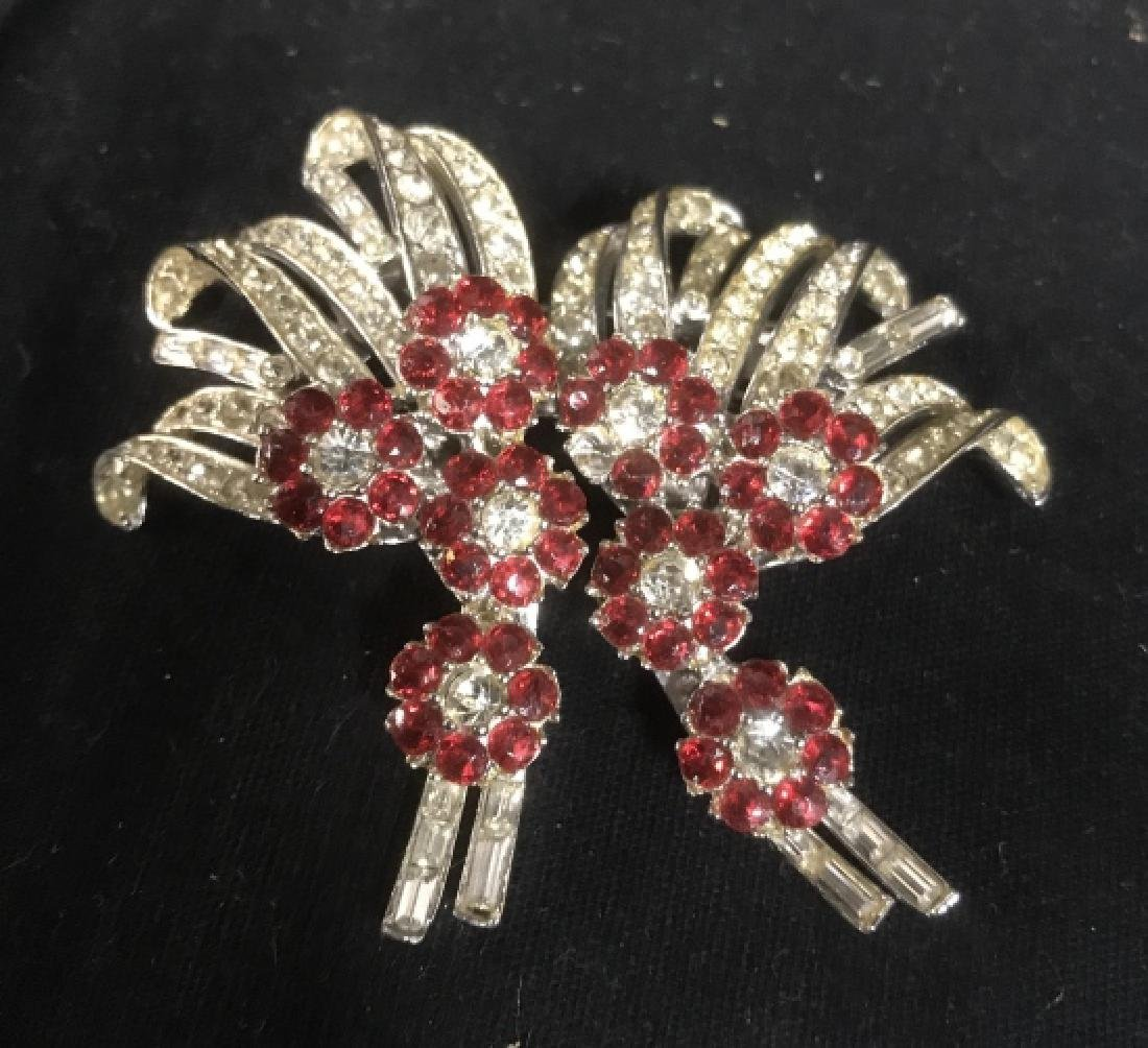 DUETTE Signed Red Rhinestone Brooch, Clip, Pendant
