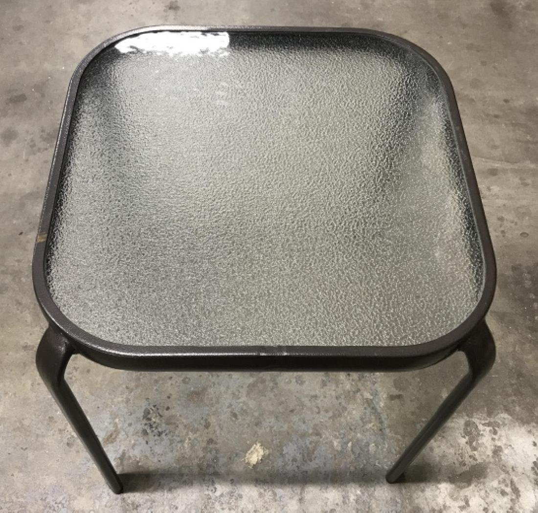 Outdoor Side Table W Textured Style Glass Top