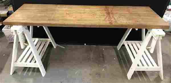 Wooden Topped Work Bench W Sawhorse Base