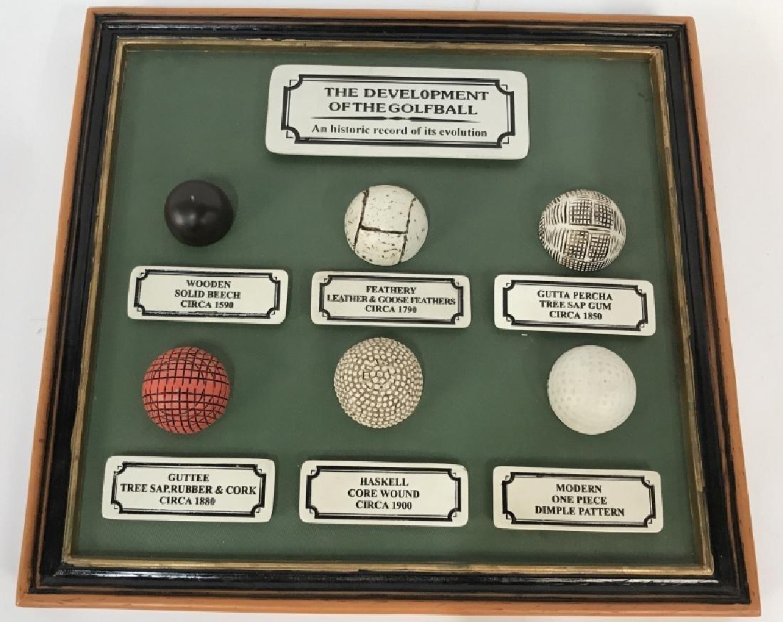 Pair Golfball and Club History Memorabilia Plaques