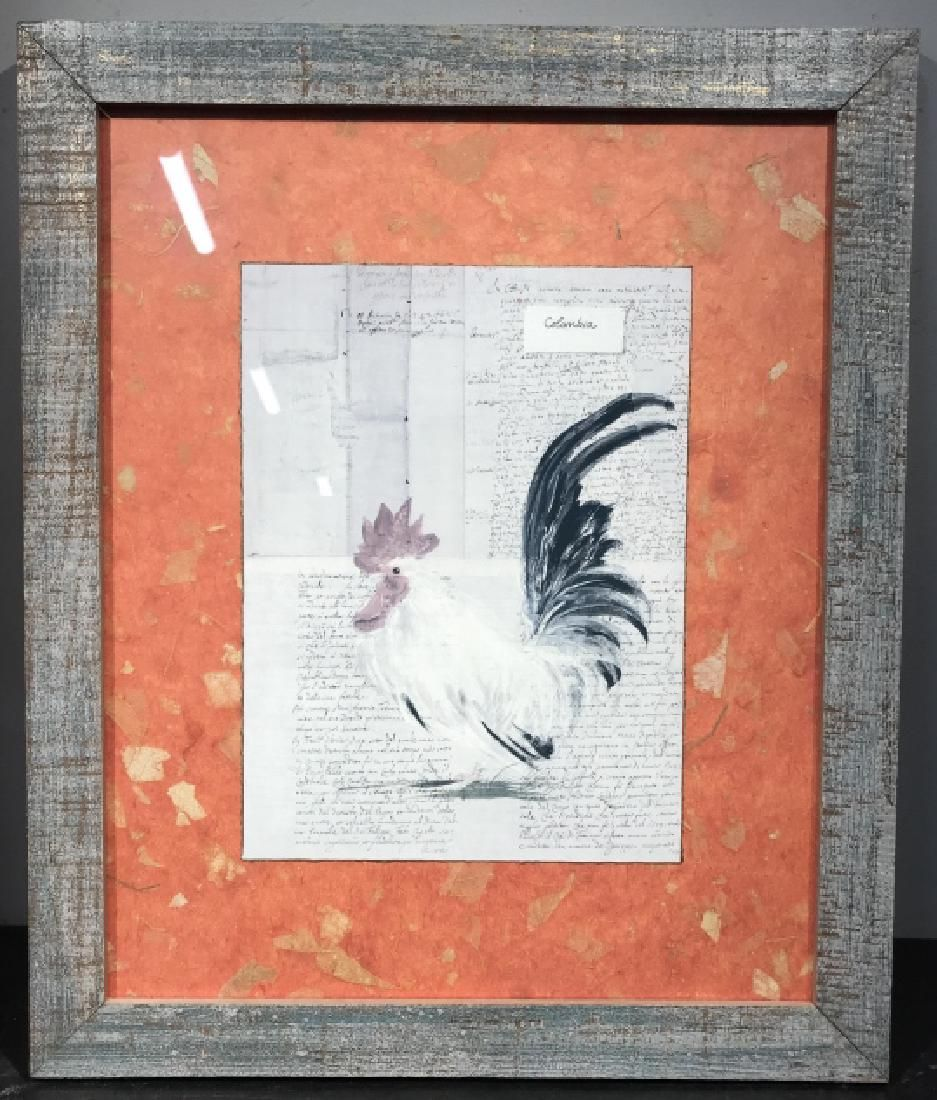 Print of Rooster In Rustic Painted Wood Frame