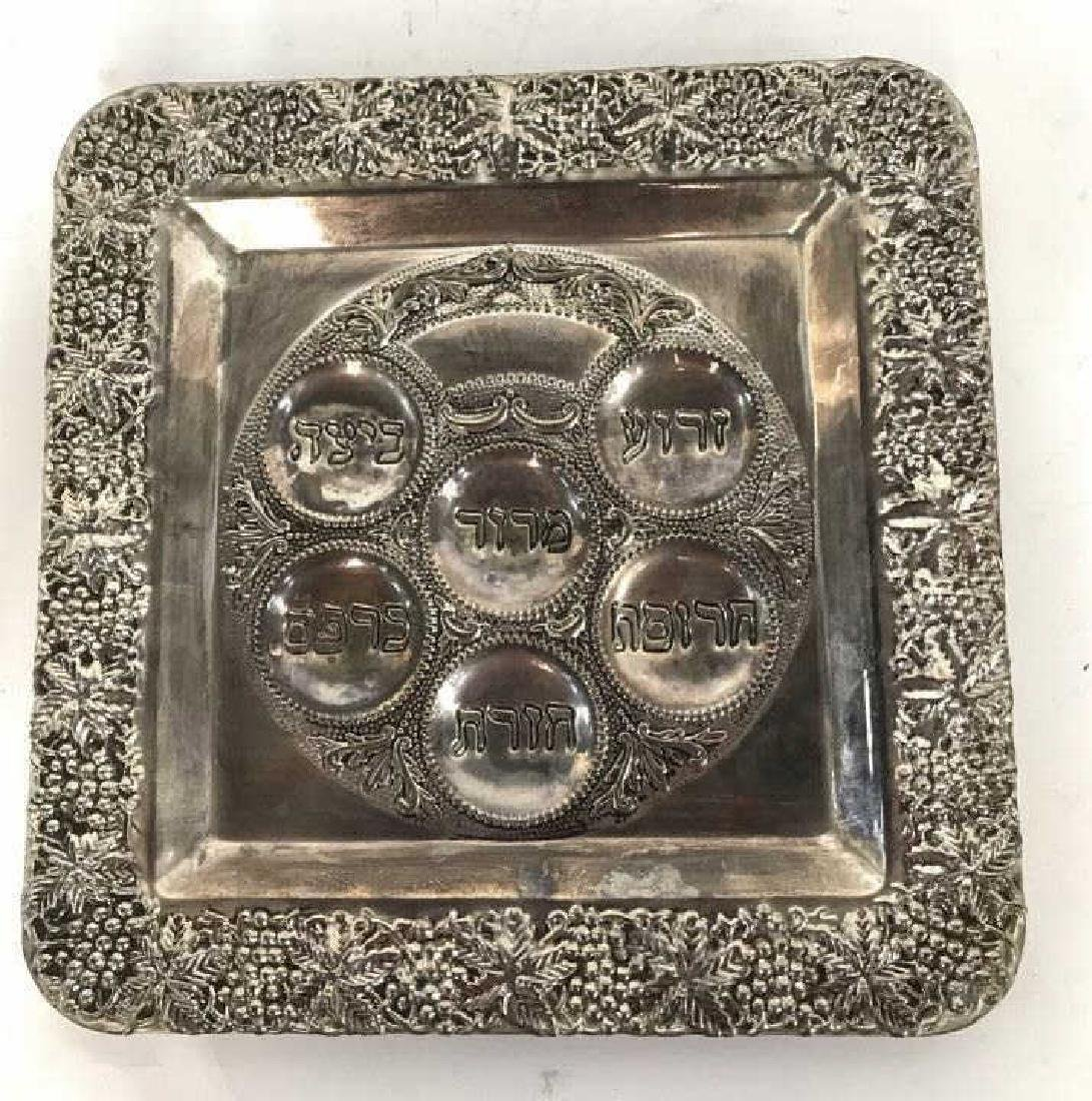 Silver Toned Seder Plate Judaica