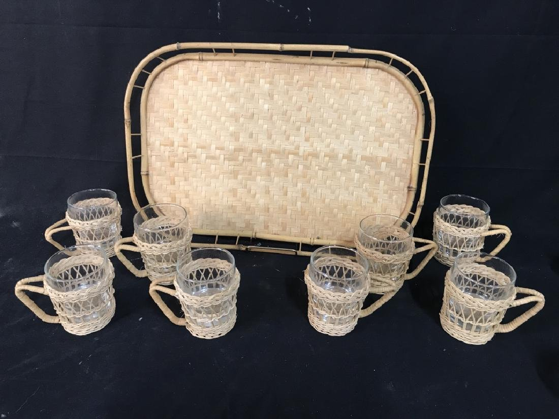 Set 9 Wicker Cup Holders And Serving Tray
