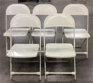 White Toned Metal Folding Chairs