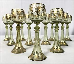 Set 12 Green Bohemian Hand Painted Glass Goblets
