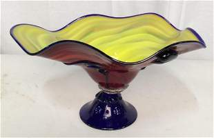CHAZZ, Signed Art Glass Centerpiece, 2005