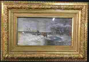 Signed L. CANDELLE Antique Watercolor Painting