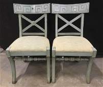 Pair Empire Style Vintage Painted Side Chairs