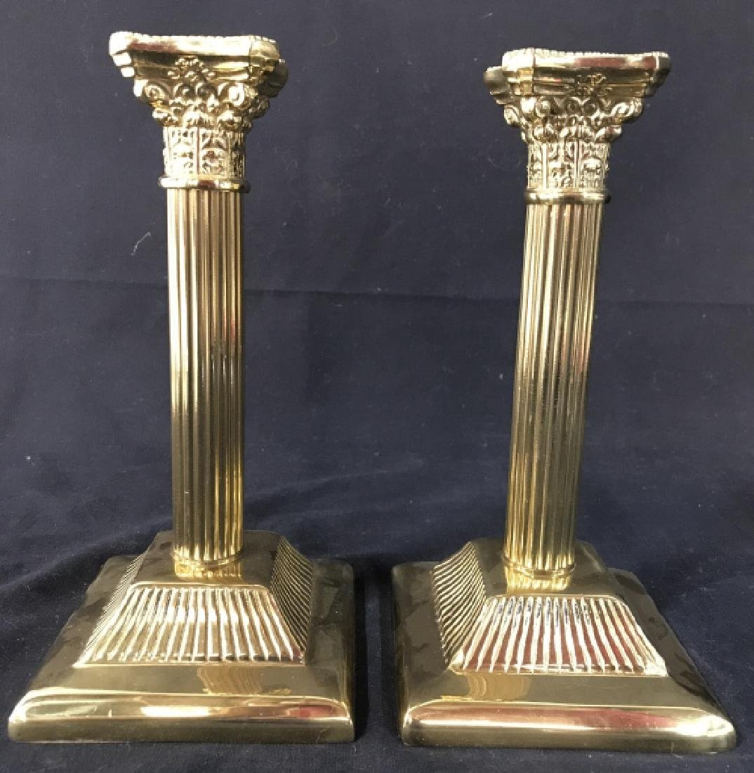 Pair Gold Toned Solid Brass Candlesticks