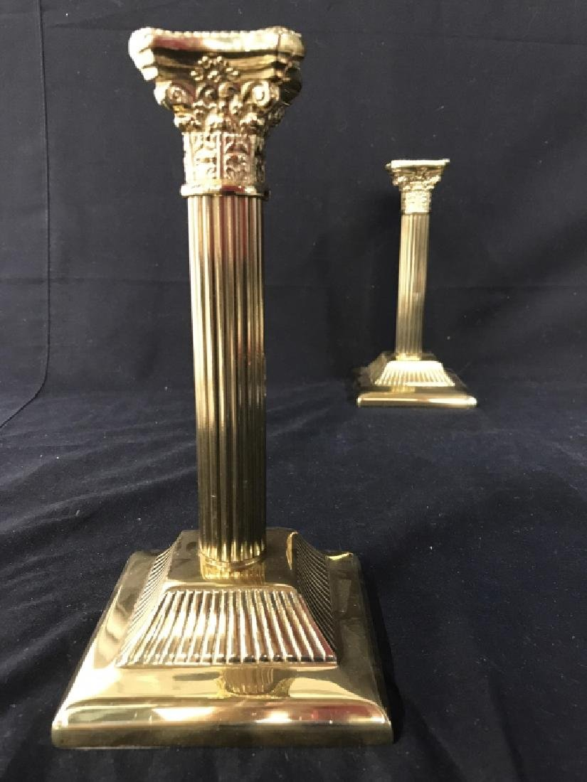 Pair Gold Toned Solid Brass Candlesticks - 3