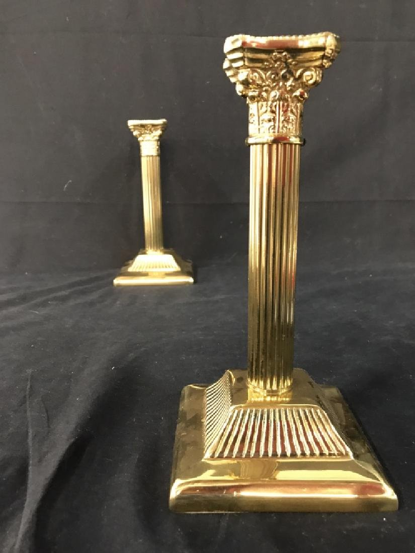 Pair Gold Toned Solid Brass Candlesticks - 4