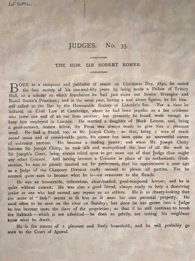 Satirical Vanity Fair Lithograph of Judge, c. 1891 - 9