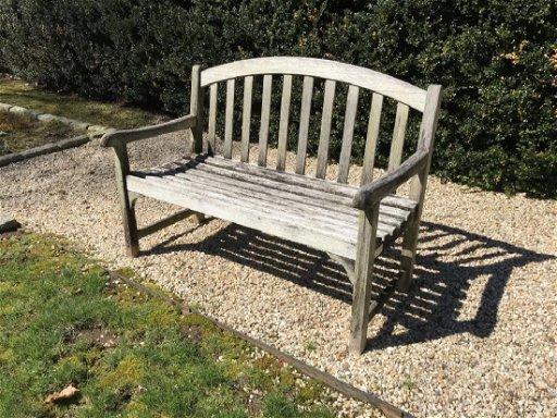 Groovy Teak Wood Gray Toned Garden Bench Uwap Interior Chair Design Uwaporg