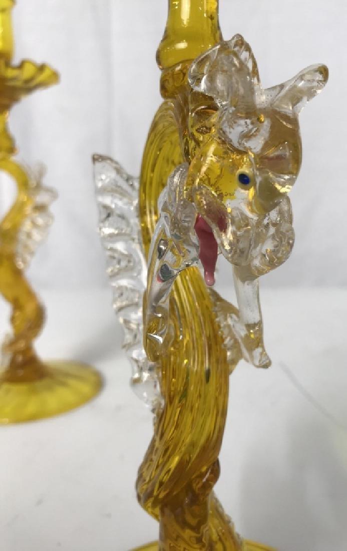Pair Dragon Form Venetian Glass Candlesticks - 5