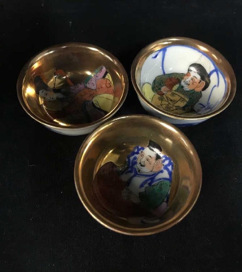 Signed Asian Porcelain Sake Whistling Flask W Cups - 10