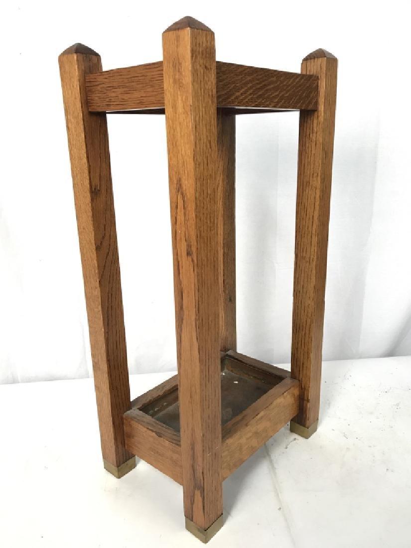 Vintage Carved Wood Umbrella Stand Mission, Arts&Crafts