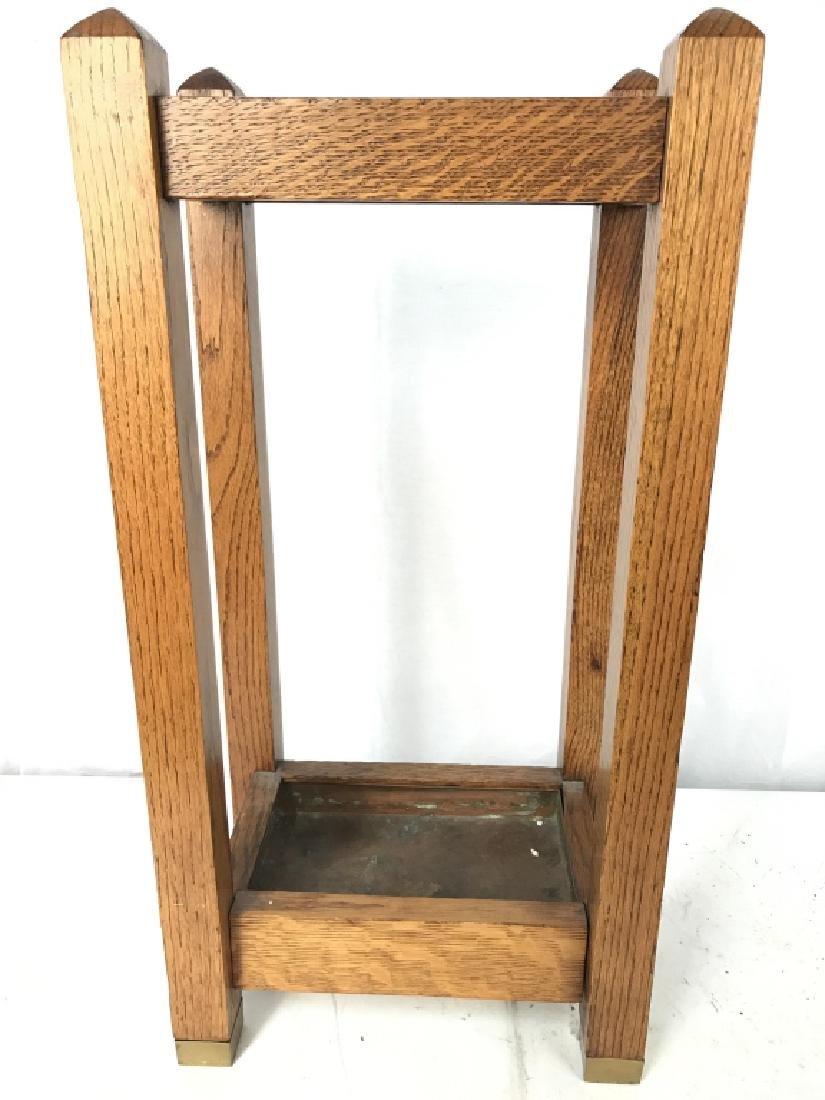 Vintage Carved Wood Umbrella Stand Mission, Arts&Crafts - 2