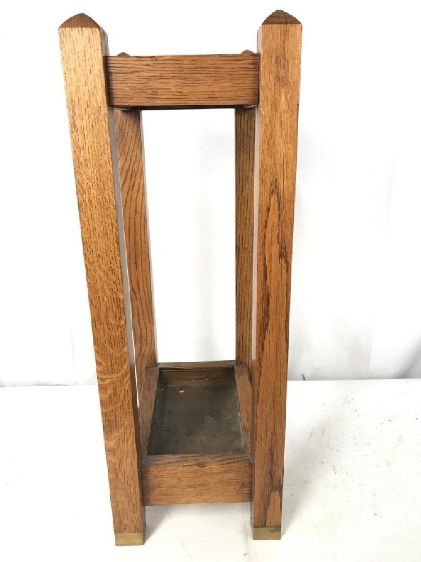 Vintage Carved Wood Umbrella Stand Mission, Arts&Crafts - 3