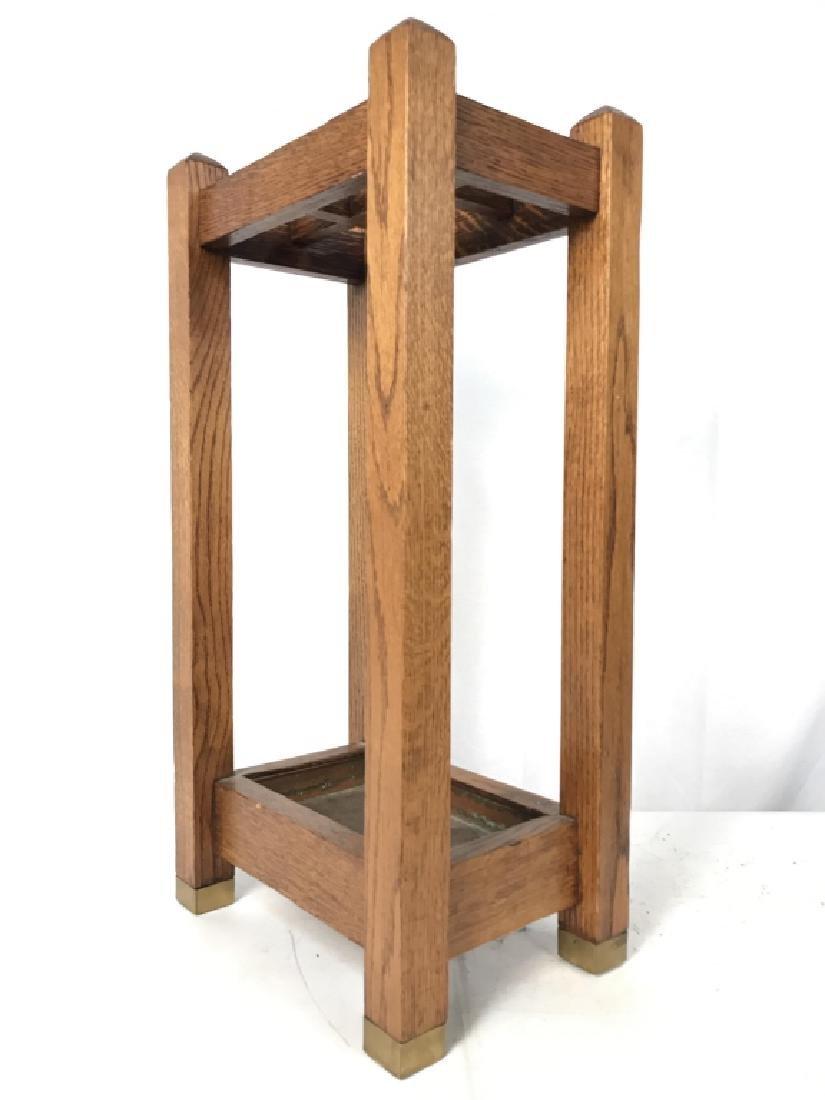 Vintage Carved Wood Umbrella Stand Mission, Arts&Crafts - 4