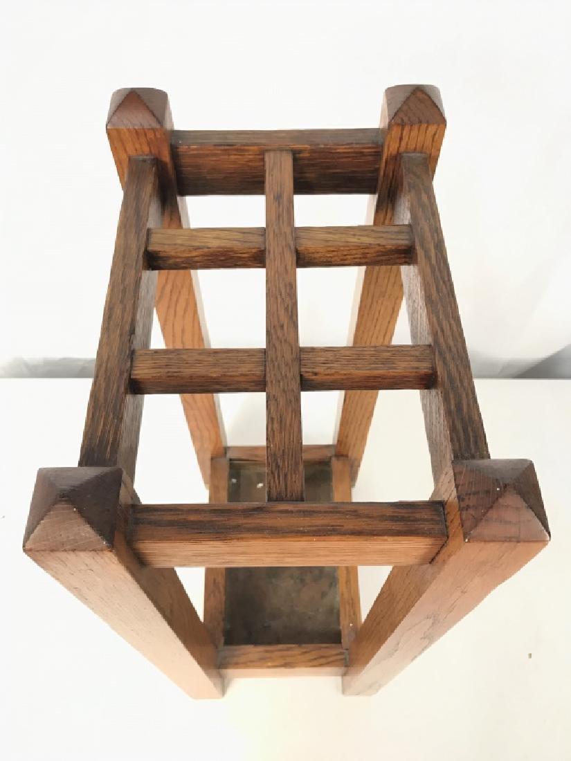 Vintage Carved Wood Umbrella Stand Mission, Arts&Crafts - 6