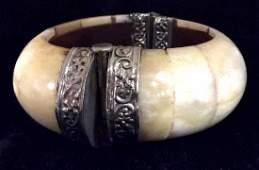 Bone Tile Bangle Bracelet