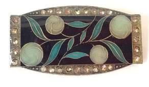 Art Nouveau Inspired Brooch Pin Enamel Cloisonn