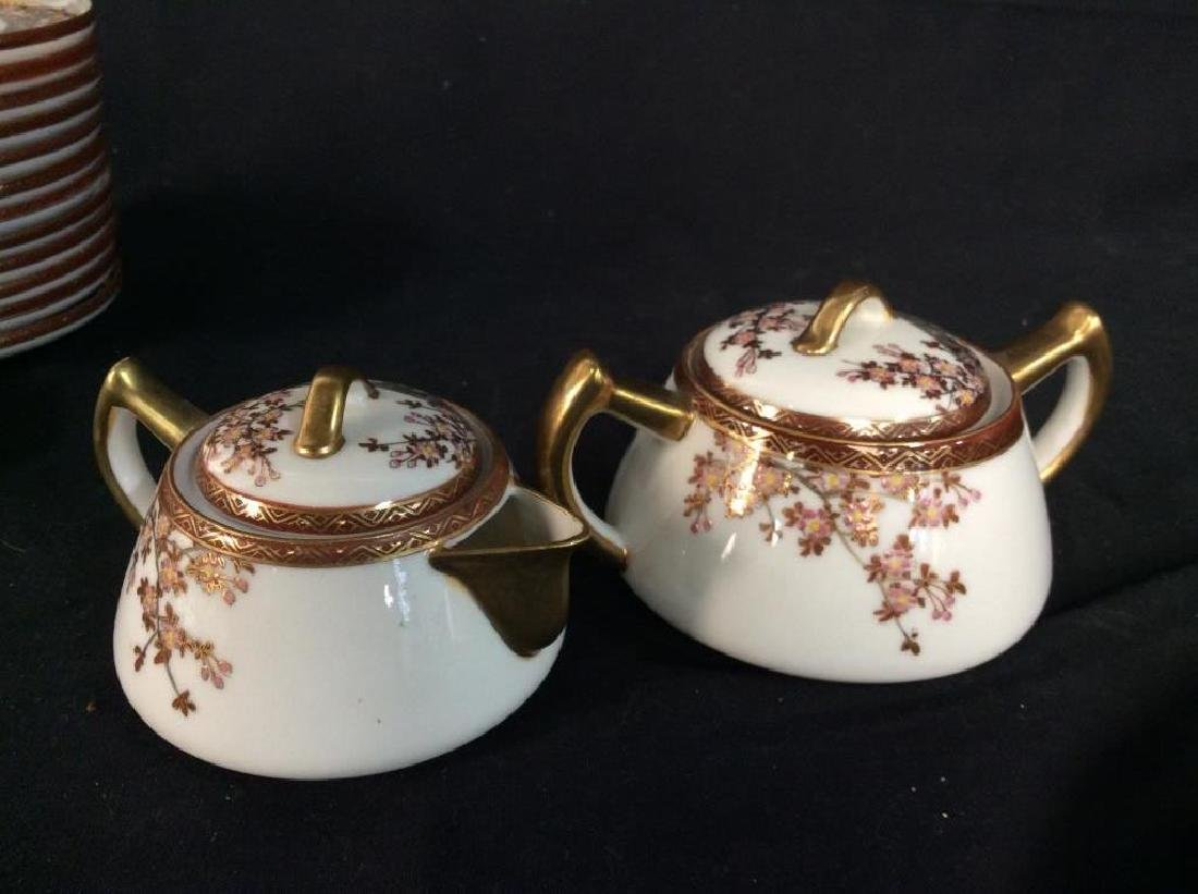 Signed Painted Asian Tea Dessert Service - 10