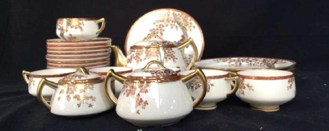 Signed Painted Asian Tea Dessert Service - 2