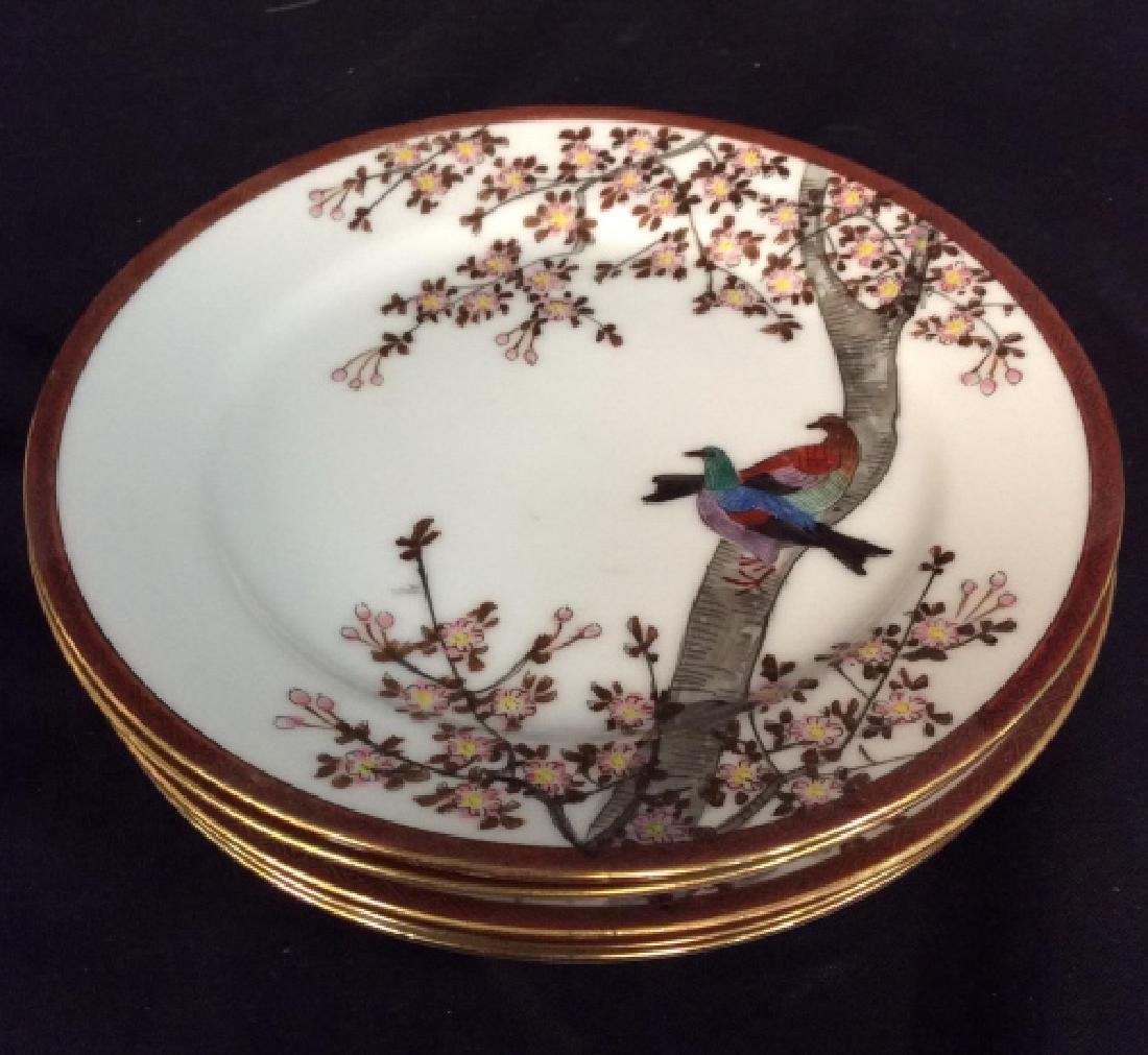 Signed Painted Asian Tea Dessert Service - 4