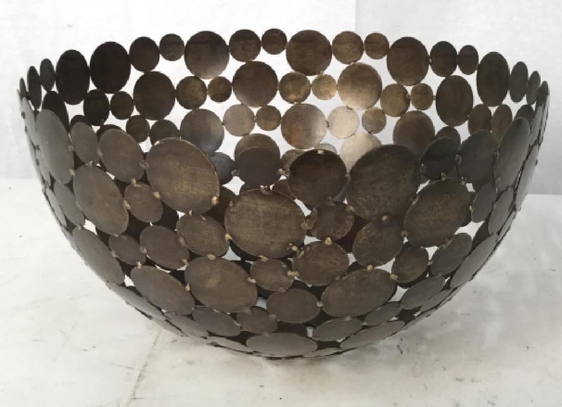 Contemporary Metal Disc Centerpiece Bowl