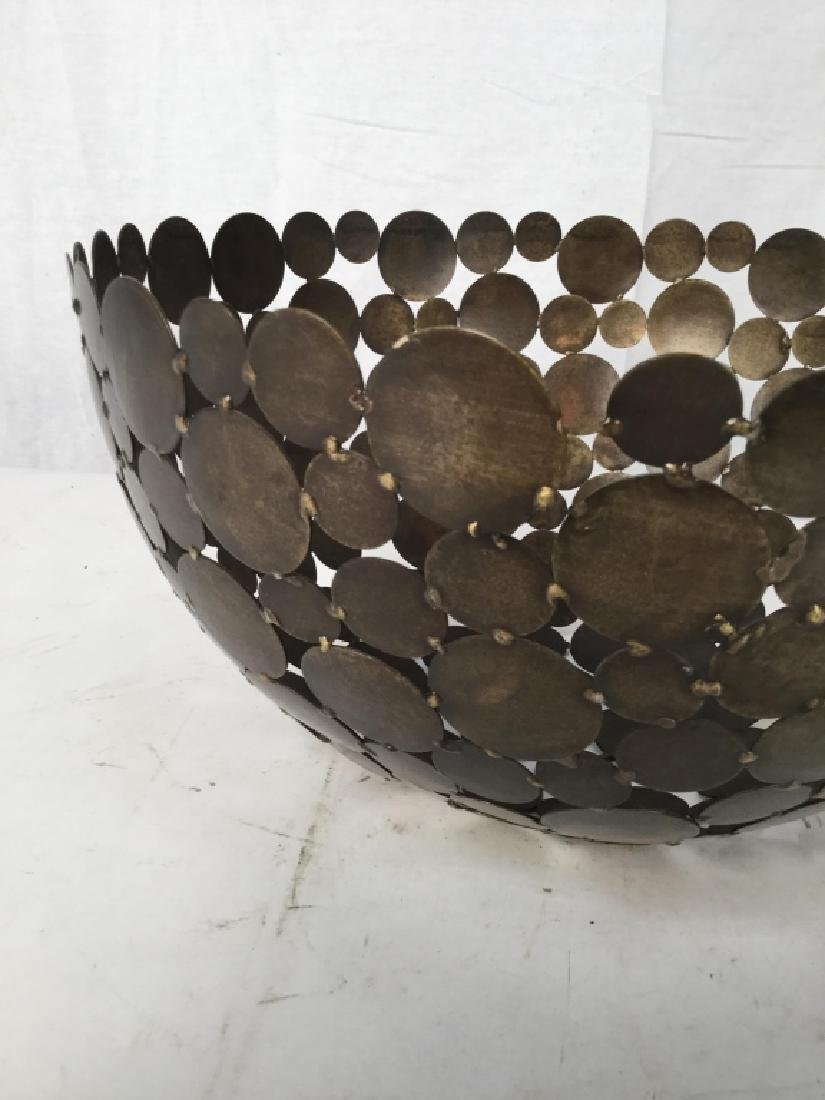 Contemporary Metal Disc Centerpiece Bowl - 3