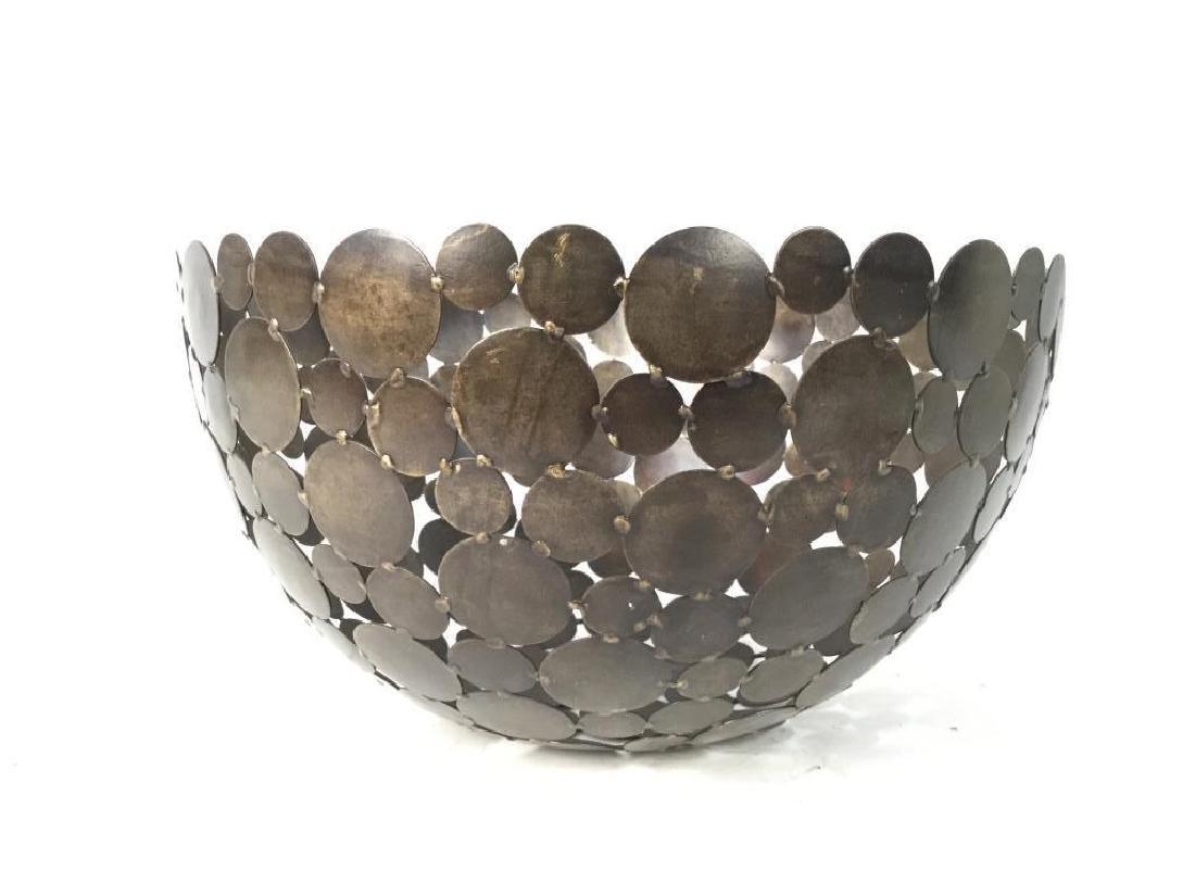 Contemporary Metal Disc Centerpiece Bowl - 6
